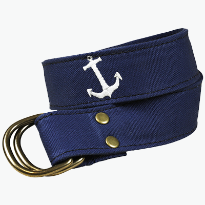 Canvas Belt with Anchor on Grey Background